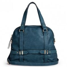 Roomy teal bowler bag with detailed hardware, a front zipper pocket, top handles and a removable shoulder strap