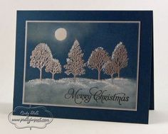 Moonlit Christmas.  SUPPLIES:  Stamp Sets:  Lovely as a Tree and More Merry Messages;  Paper:  Midnight Muse and Brushed Silver;  Ink:  Staz On White, Staz On Black and VersaMark;  Tools and Accessories:  Heat Tool, Silver Embossing Powder, Sponge Daubers, 1/2″ Circle Punch, 2-Way Glue Pen and Dazzling Diamonds Glitter.