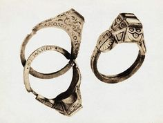 """16th Century German wedding ring, double ring, with Latin inscription """"What God Hath Joined Together, Let No Man Put Asunder."""" (via http://www.lookinart.tv/)"""