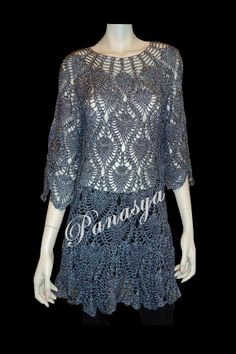 Hand crocheted Black/Metallic Dress by CrochetExclusive on Etsy, $350.00
