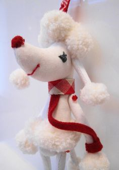 Poodle - Snowflake Poodle  with the red collar collection - Poodle plush - Dog softies - Dog lover