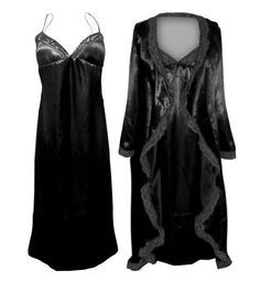 dad65999f5 Sanctuarie Designs Women s Satin Nightgown Robe W Black Lace Trim Plus Size  Supersize Standard length Tall length NIGHTGOWN  - Hips - Bottom - Hips -  Bottom ...