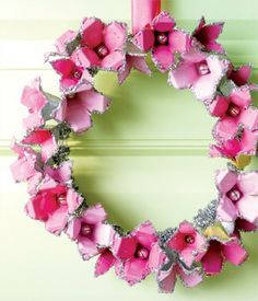 Recycled egg cartons to make a spring wreath.