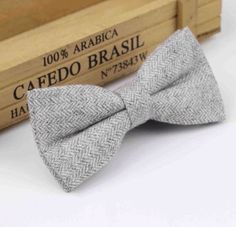 New Vintage Tweed Light Grey Pre-tied bow tie. Matching Items Available. UK. | eBay