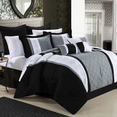 Chic Home Bryce King Comforter Set In Black - Give your master bedroom a complete makeover with this luxurious Bryce Comforter Set from Chic Home. The stylish bedding is graced with detailed embroidery that brings an elegant touch to your bedroom décor. Black Comforter, King Comforter Sets, Duvet Sets, Daybed Comforter, Yellow Bedding, King Duvet, Queen Duvet, White Bedding, Modern Bedroom