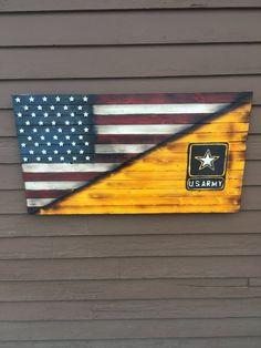 Handmade wood split American Flag and US Army. Flag is 36 inches long and 20 inches tall. Red strips, stars, and Army logo and a 3D like look. Distressed for added rustic look and polyed for added protection. Comes with hanging hooks, 16 inch centered for easy hanging