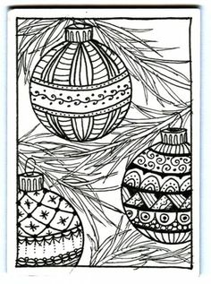 Christmas Ornaments Zentangle by Plain Jane - Cards and Paper Crafts at Splitcoaststampers #Zentangle #Zentangle Patterns #Christmas #Zentangle Christmas #Christmas cards