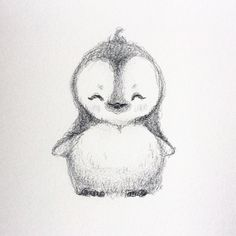 "Selene Regener on Instagram: ""Haha decided to draw a little cute penguin  #penguin #drawing #cute"""