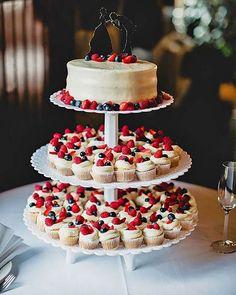 24 Totally Unique Wedding Cupcake Ideas ❤ wedding cupcake ideas lev kuperman #weddingforward #wedding #bride Summer Wedding Cakes, Small Wedding Cakes, Wedding Cake Rustic, Wedding Cakes With Cupcakes, Wedding Desserts, Elegant Wedding, Buffet Wedding, Trendy Wedding, Rustic Cupcakes