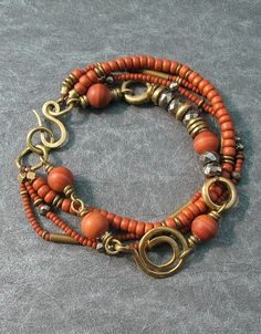 Rust Jasper Multi Strand Bracelet, Boho Beaded Beaded by BacaCaraJewelry, $…