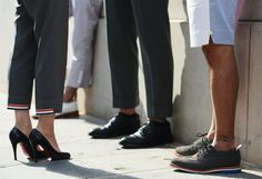Street-Style Photographer Tommy Ton Shoots the Menswear Scene I love this photo of men in nice shoes, and a girl in cropped dress pants and a pair of louboutins. So chic!