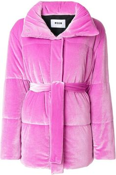Msgm Stretch-velvet Belted Down Jacket In Rosa Puffy Jacket, Pink Jacket, Jacket Style, Fashion To Figure, Pink Puffer Coat, Stylish Jackets, Msgm, High Collar, Outerwear Jackets