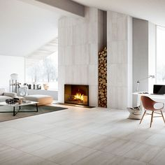 A Scandinavian-style living room: a neutral colour palette, simple furniture and wooden detailing. There's space for a home office too. Home, Akdo Tile, Tiles, Flooring, Living Room With Fireplace, Simple Furniture, Residential Flooring, Wall And Floor Tiles, Fireplace