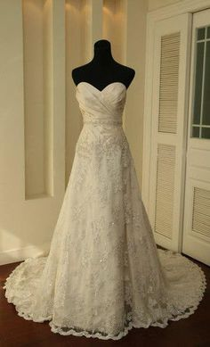 New White/Ivory Sweetheart Lace A_line Wedding Dress Size4 6 8 10 12 14 16Custom