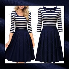 "This is a lovely vintage inspired dress. The dress is navy blue and white, has a striped pattern on top, has a round neck line, a zipper in back and made from 95% cotton and 5% spandex.    Available in US sizes 4 - 14.     The dress has the following measurements:    Small, US 4 - 6: Bust Range 31.5"" - 33.5"", Waist 27.6"", Dress Length 39.4""    Medium, US 8: Bust Range ""33.5 - 35.4"", Waist 29.1"", Dress Length 40.2""    Large, US 10: Bust Range 35.4"" - 37.4"", Waist 31.1"", Dress Length 40.2""…"