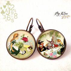 Boucles d'oreille cabochon • alice au pays des merveilles • jardin lapin fleurs perles