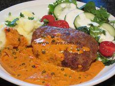 gefüllte plescavica mit pfeffer-ajvar soße Tasty, Yummy Food, Spare Ribs, What To Cook, Tandoori Chicken, Ground Beef, Feta, Grilling, Low Carb