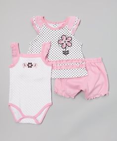 Duck Duck Goose Pink & White Polka Dot Flower Swing Tee Set by Duck Duck Goose #zulily #zulilyfinds