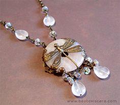 Antique brass dragonfly necklace with rose quartz stone donut and Czech crystals by BeataViscera Design. www.beataviscerajewelry.com.