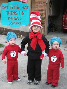 These DIY Cat in the Hat and Thing 1 and Thing 2 Costumes are so cute for siblings.  (Great for Dr. Seuss Day or Halloween)- Mission: to Save