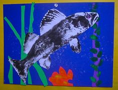 Easy two day project. day one, print fish and paint blue background with bubble wrap print. Day two, cut out fish, color in eye, put together backgrounf