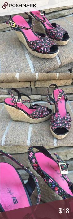 🌸AE floral wedges Going anywhere warm this winter?! These are perfect. I adore these wedges but I have too many shoes!! The floral print reminds me of Betsey Johnson. They are not uncomfortable to walk in at all. The wedge is about 4 inches. They can be dress up or dressed down😊 American Eagle by Payless Shoes Wedges