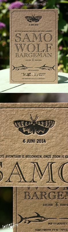letterpers_letterpress_geboortekaartje_samo_kraft_vintage_zwaardhaai_vlinder_bijzonder Letterpress Business Cards, Letterpress Printing, Butterfly Illustration, Sign Writing, Envelope Design, Paper Hearts, Name Cards, Business Card Design, Hand Lettering