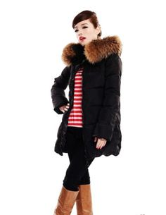 Senfloco Elegant Womens Warm Winter Belted Down Coat with Large Faux Fur Collar CN XLarge  US 8 Black *** Want to know more, click on the image.
