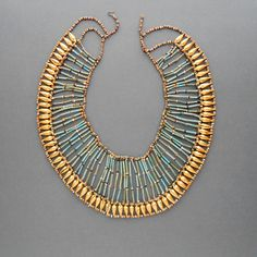 Egyptian Revival Necklace. Huge Statement Piece. Turquoise Faience. Gilt Teardrop Beads.. $180.00, via Etsy.