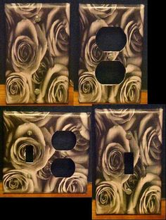 black & white image of roses on Wallplates Set of 4 by TwoPuppys, $4.00