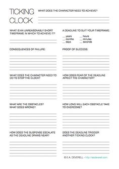 Writing worksheet - put your character under a time constraint and 10x your tension! > http://eadeverell.com/?utm_content=bufferfd4e3&utm_medium=social&utm_source=pinterest.com&utm_campaign=buffer