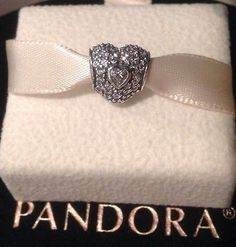 Authentic PANDORA CHARM IN MY HEART, Sterling , Zirconia, Pave, 791168CZ NEW