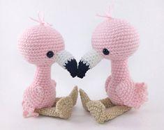 PATTERN: Crochet flamingo pattern - amigurumi flamingo pattern - crocheted flamingos pattern - PDF crochet pattern - English only