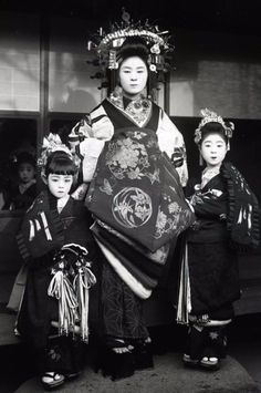 A Oiran and two Kamuro girls