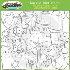 Love Our Planet Line Art Download