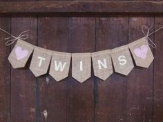 Twin Banner, Twins Bunting, Twin Girls, Twin Boys, Burlap Garland, Pregnancy Photo Prop, Gender Reveal, New Baby, Rustic Baby Shower Decor on Etsy, $15.00