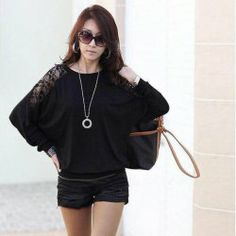 $7.07 Gamiss® Loose-Fitting Lace Back Batwing Long Sleeves Scoop Neck Cotton Blend T-Shirt For Women