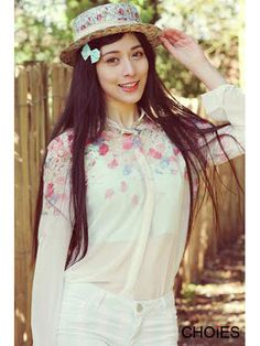 White Ombre Floral Long Sleeves Chiffon Shirt