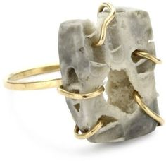 """ShopStyle: Melissa Joy Manning """"S and """" 14k Gold and Ohio Fossil Coral Ring"""