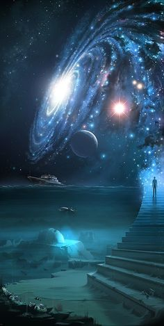 Universe Astronomy Earth's Sky in 5 billion years when Andromeda closes in on the Milky Way Galaxy as the Collision begins. Planets Wallpaper, Galaxy Wallpaper, Outer Space Wallpaper, Nature Wallpaper, Fantasy Kunst, Fantasy Art, Space Fantasy, Art Galaxie, Galaxy Art