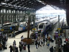 Gare de Lyon. I like to just look at the arrival and destination boards. It`s like being in a Euro-film.