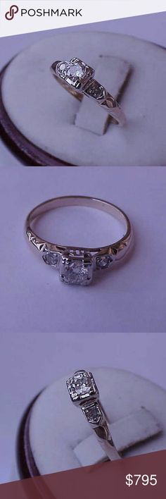 Art deco 14k gold .37ct diamond engagement ring Estate 14k yellow and white gold ring with 3 diamonds, vs in clarity and h in color.  Center diamond. 25ct and 2 more diamonds approx. 06ct  (2.5mm). Size 6 1/2. Weight 1.8gr. Jewelry Rings