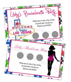 Las Vegas Match Three Bachelorette Party by lovelypapercreations Bachlorette Favors, Off Game, Scratch Off, Las Vegas Nevada, Handmade Gifts, Party, Etsy, Kid Craft Gifts, Craft Gifts
