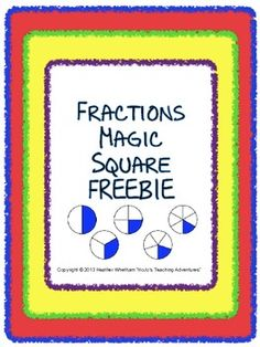 FREE fractions Magic Square Puzzle! halves, thirds, fourths, and fifths are covered in this one!
