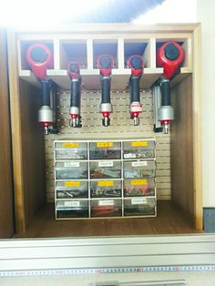 A woodworking shop should have a layout that could promote smooth and efficient work. Garage Workshop Organization, Garage Tool Storage, Van Storage, Workshop Storage, Garage Tools, Trailer Organization, Storage Ideas, Tool Room, Nail Gun