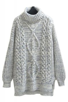 High Low Hem Turtle Neck Long Sleeve Loose Pullover Sweater