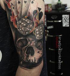 #gamble by #pik21 #radicalinktattoo 21st, Skull, Ink, Tattoos, Instagram, Tatuajes, Tattoo, India Ink, Tattos