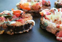 Fried Eggplant Topped with Sauteed Tomatoes, Herbs and Cheese