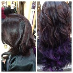 Purple hair, extensions, before and after, hairbyashleyspadano
