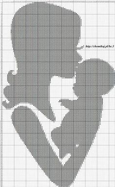 0 point de croix mere embrassant son bébé - cross stitch mother kissing her baby